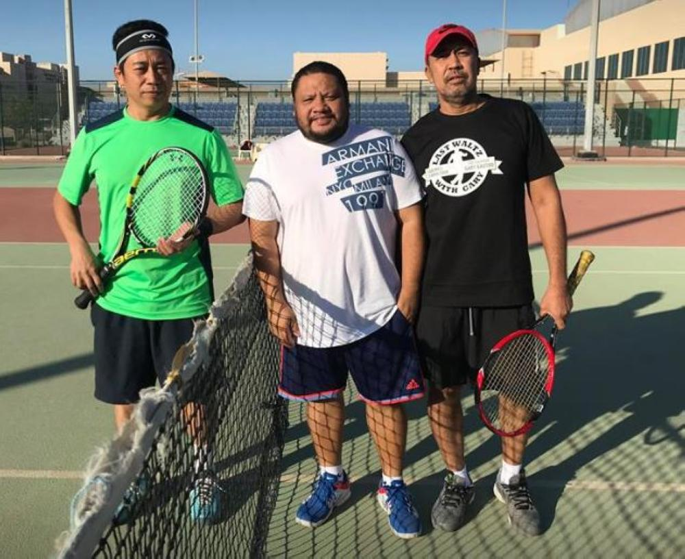 File Photo of Singles match last 29Jan2018, from left: Team C's Fred Masangkay, Madze Ali (umpire), Team B's Rolly Saldana.
