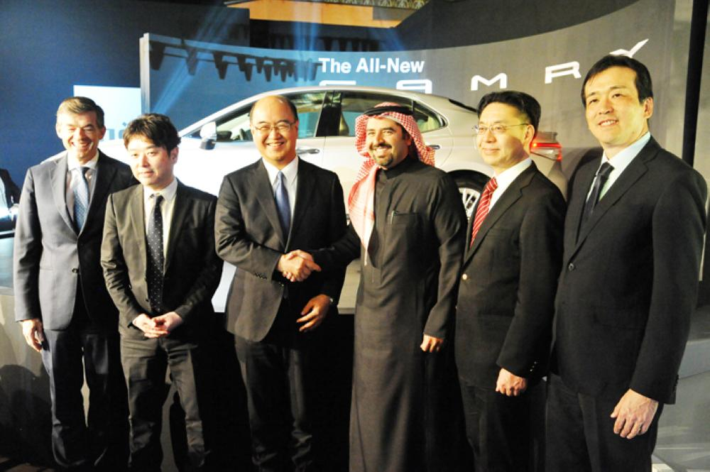Top executives of Abdul Latif Jameel Motors and Toyota Motors Japan at the unveiling of Toyota Camry 2018