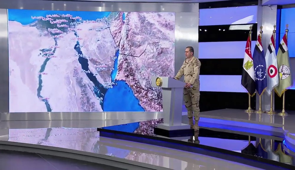 An image grab taken from a handout video released by the Egyptian Defense Ministry on Friday shows Egypt's Army spokesman, Col. Tamer Al-Rifai, reading a statement next to a map of northern Egypt and the Sinai peninsula, announcing the launch of a major operation in the Nile Delta and in the Sinai against a persistent Daesh ( so-called IS) group insurgency. Police and troops have been put on