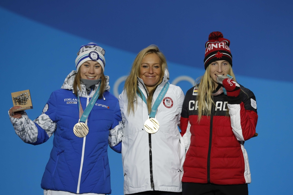 Gold medalist Jamie Anderson of the US, silver medalist Laurie Blouin of Canada and bronze medalist Enni Rukajarvi of Finland on the podium after the Women's Slopestyle Snowboarding at the Pyeongchang 2018 Winter Olympics in Pyeongchang, South Korea. — Reuters