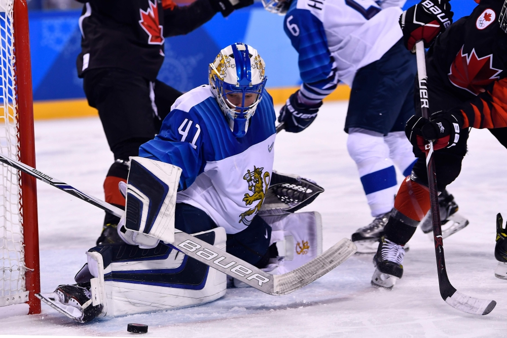 Finland's Noora Raty defends the goal during the final period of the women's preliminary round ice hockey match between Canada and Finland during the Pyeongchang 2018 Winter Olympic Games at the Kwandong Hockey Centre in Gangneung, South Korea on Tuesday. — AFP