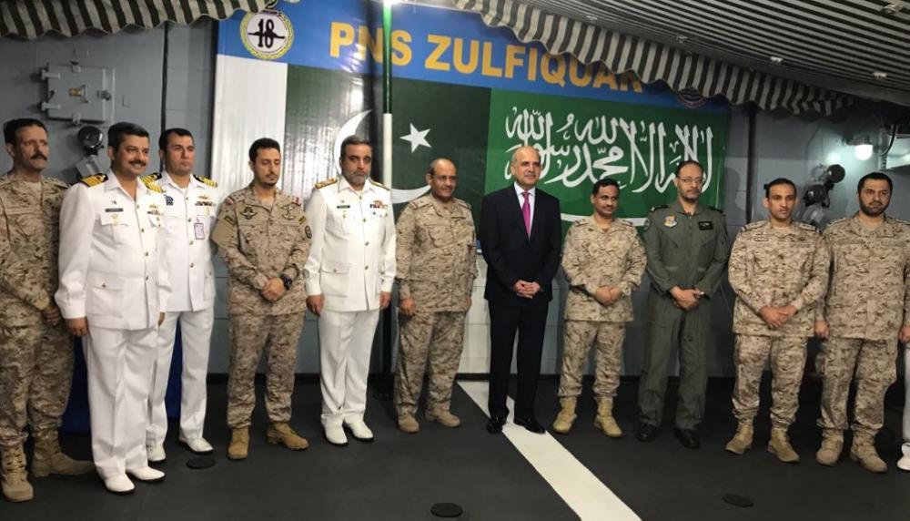 Pakistani Ambassador Vice Admiral (Retd.) Khan Hasham Bin Saddique with the guests aboard Pakistan Navy ship Zulfiqar berthed at Jubail port. — Courtesy photo