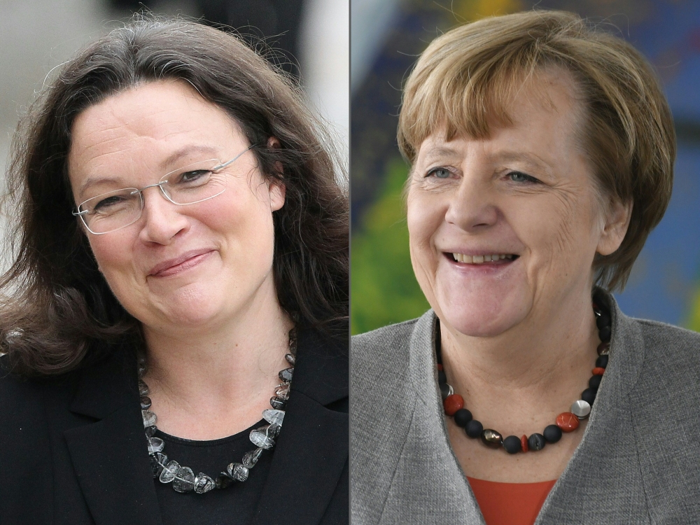 This combination of pictures created on Wednesday shows German Labour and Social Minister Andrea Nahles, left, and German Chancellor Angela Merkel. — AFP