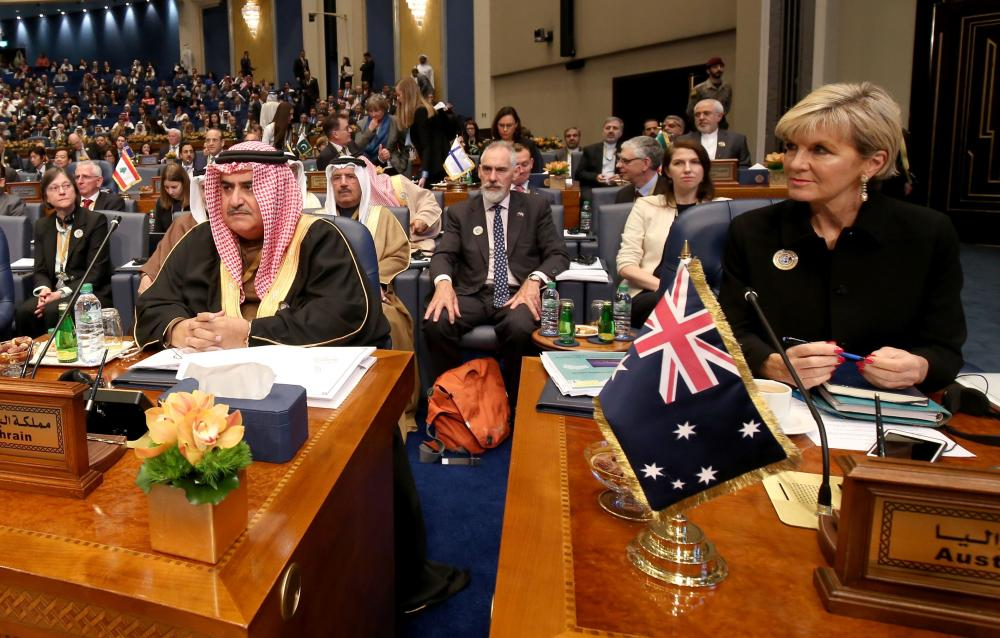 Bahraini Foreign Minister Sheikh Khaled Bin Ahmad Al-Khalifa and Australian Foreign Minister Julie Bishop attend the second day of an international conference for reconstruction of Iraq, in Kuwait City, on Wednesday. — AFP