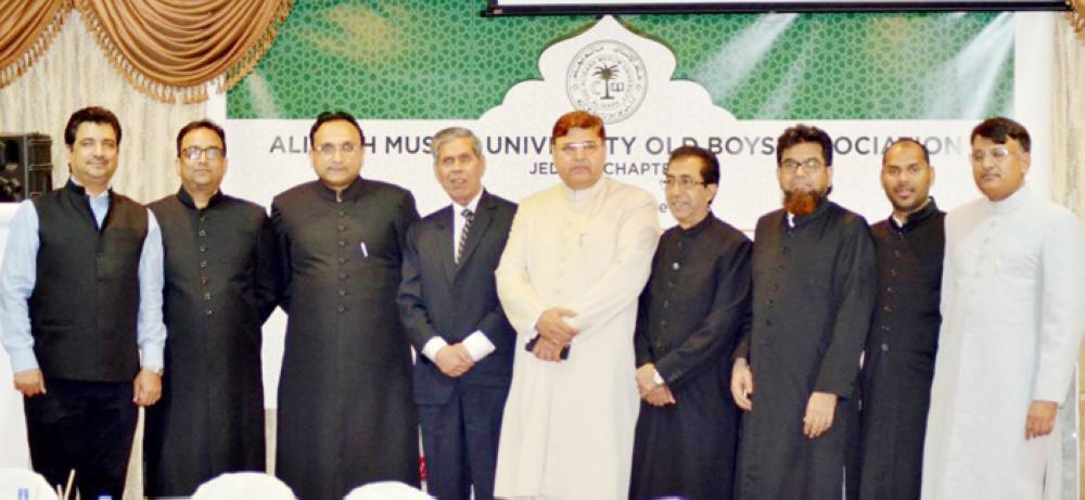 Office bearers of Aligarh Muslim University Old Boys Association (Jeddah chapter) with senior Alig Muhammad Mian Sahab (fourth from left). — Courtesy photos