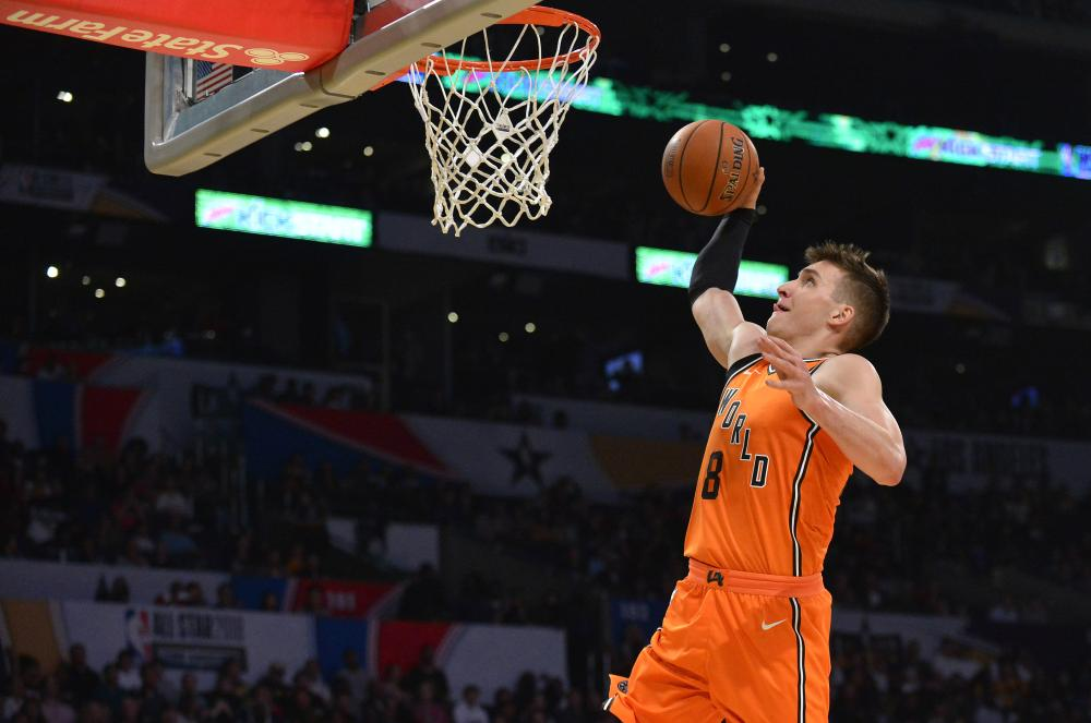 World guard Bogdan Bogdanovic dunks against USA during the second half of NBA All-Star Game at Staples Center in Los Angeles Friday. — Reuters