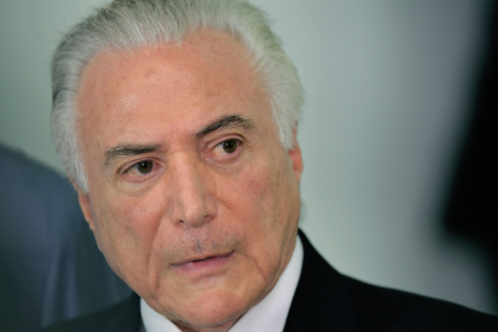 Brazil's President Michel Temer speaks during a press conference at Guanabara Palace, Rio de Janeiro, on Saturday. — AFP