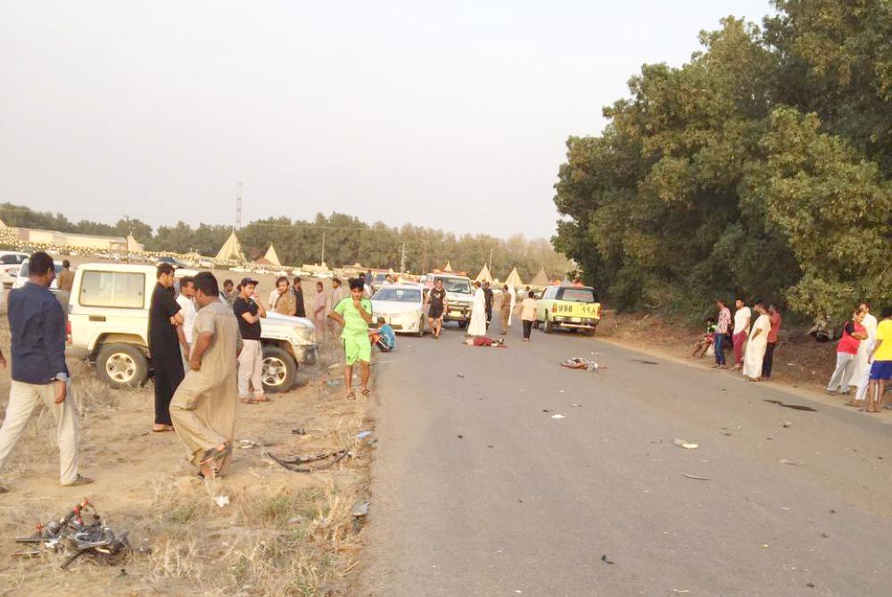 The scene of the horrific accident in Jazan's Abu Areesh governorate. — Courtesy: Al Arabiya English