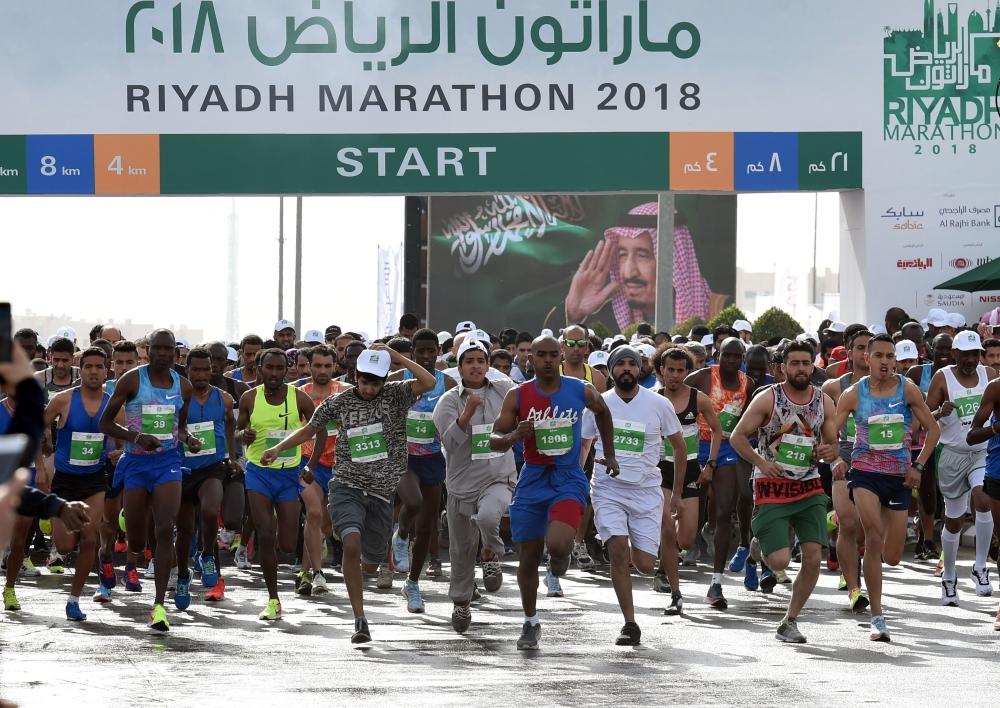 Saudi and expat runners take part in the 2018 Riyadh marathon at the King Saud university in Riyadh on Saturday. — AFP