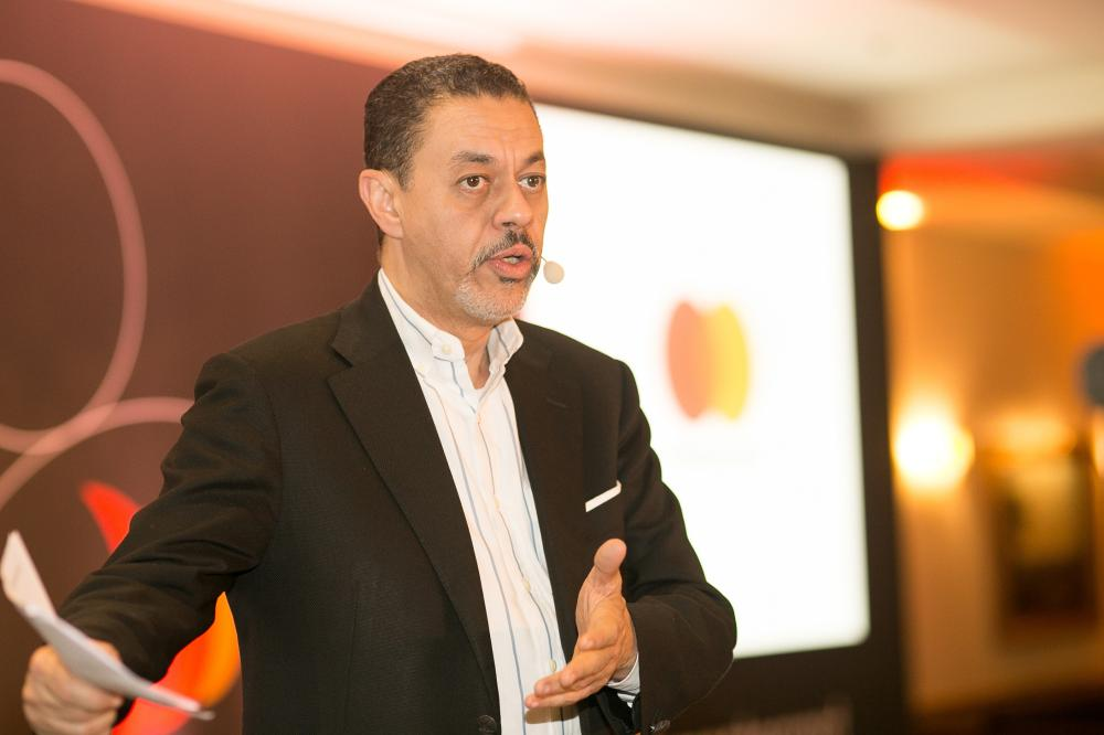 Khalid Elgibali, division president, Middle East and North Africa, Mastercard, making a point at the MENA Leadership Forum held in Paris. — Courtesy photo