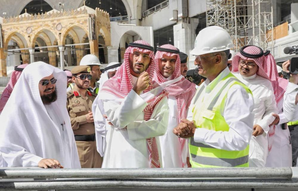 Prince Abdullah Bin Bandar, acting emir of Makkah, inspects the ongoing renovation work of the Zamzam well in Makkah on Monday. -- SPA