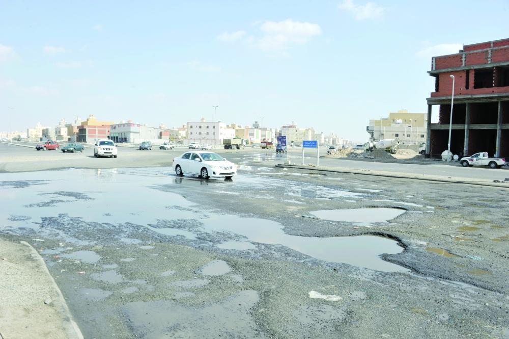 Streets damaged by overflowing sewage in Jeddah's Hamadaniya district.