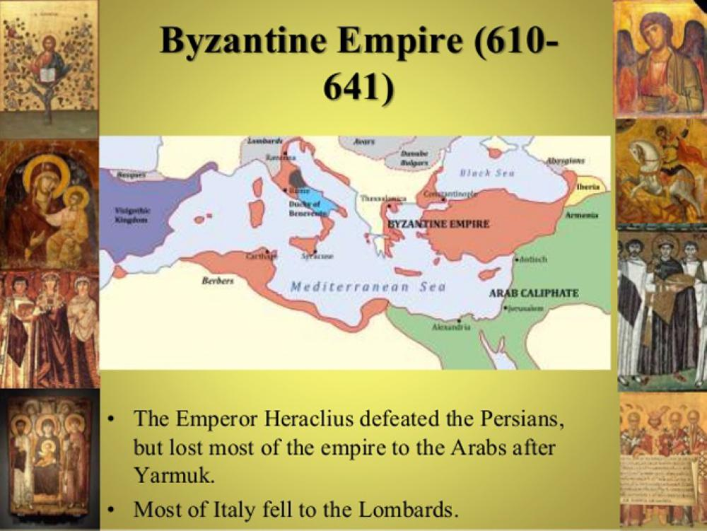 Meeting between Heraclius, Byzantine Emperor, and Abu Sufyan, Chieftain from Arabia