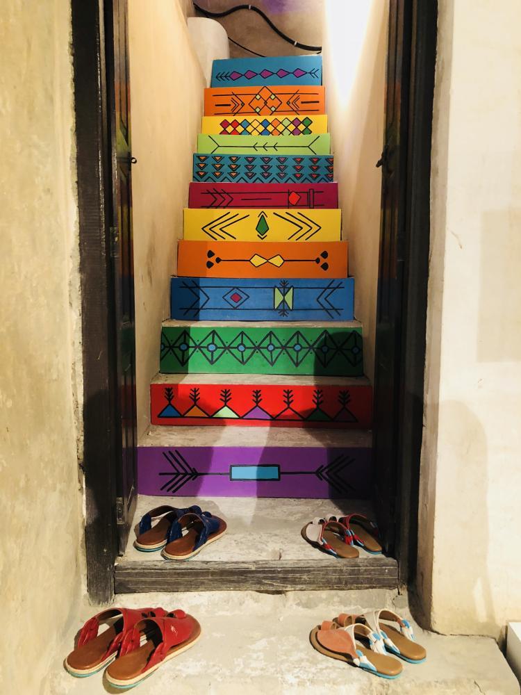 Tamashee stairs featuring Al Qatt art native to Asir region.
