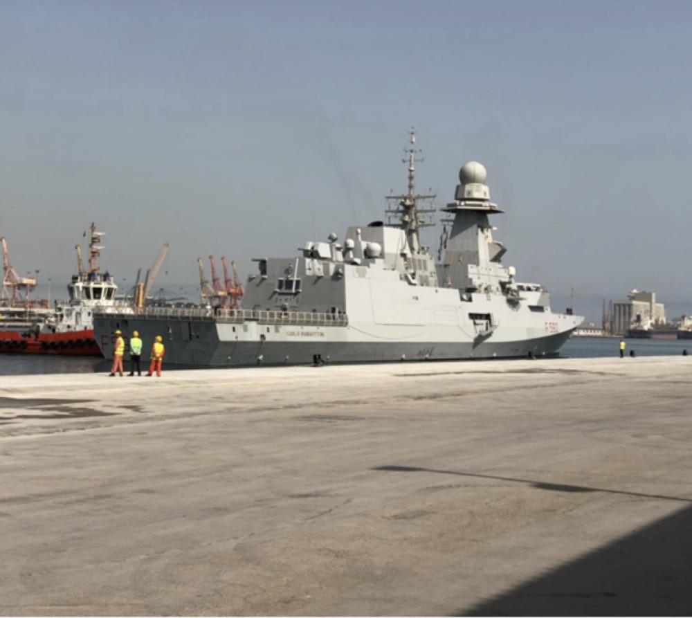 Italian frigate ITS Margottini during the port call on King Abdul Aziz Port in Dammam.