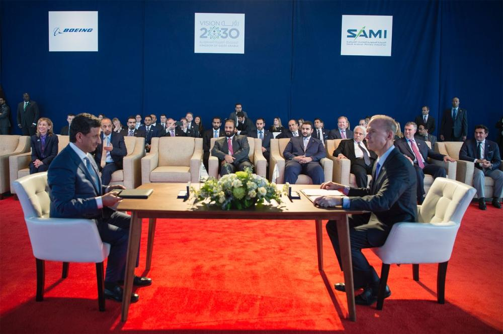 Crown Prince Muhammad Bin Salman, deputy premier and minister of defense, oversees the signing of an agreement between Saudi Arabian Military Industries company (SAMI) and Boeing in Seattle on Friday. — SPA