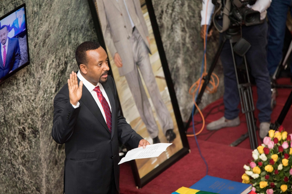 Abiy Ahmed, the newly elected Prime Minister of Ethiopia, is pictured during the swearing in ceremony at the Ethiopian Parliament in Addis Ababa, Ethiopia, in this April 2, 2018 file photo. — AFP