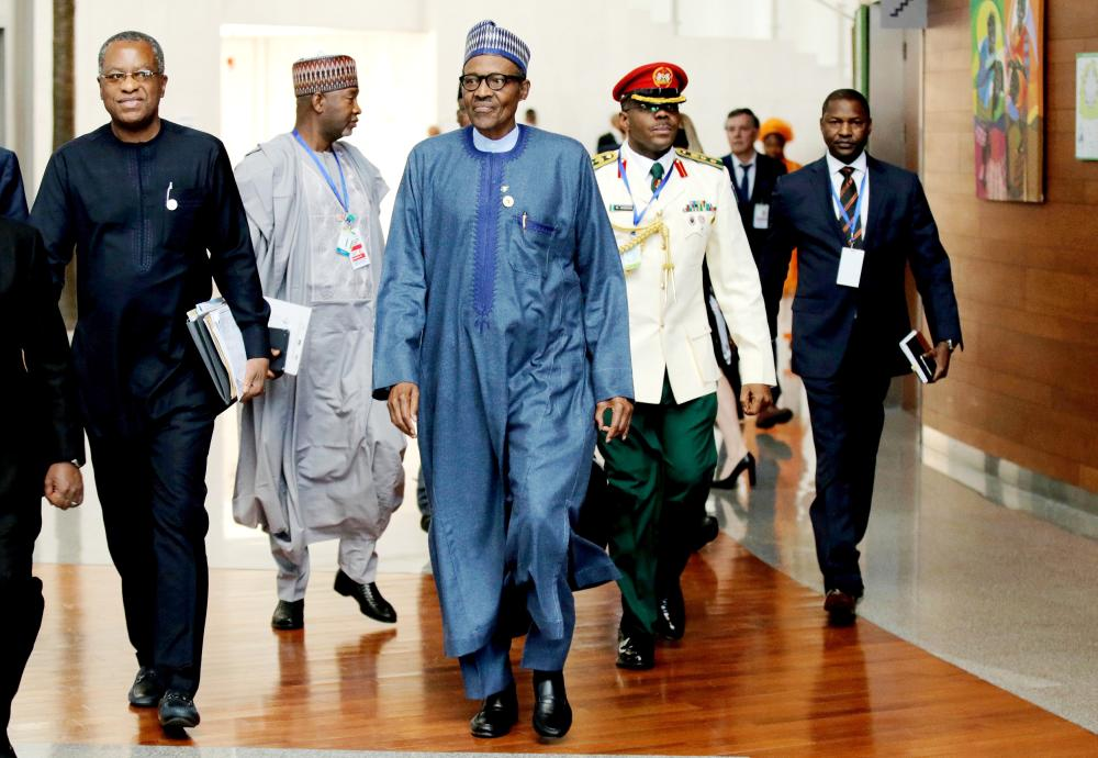 Nigeria's President Muhammadu Buhari arrives for the 30th Ordinary Session of the Assembly of the Heads of State and the Government of the African Union in Addis Ababa, Ethiopia, in this Jan. 28, 2018 file photo. — Reuters