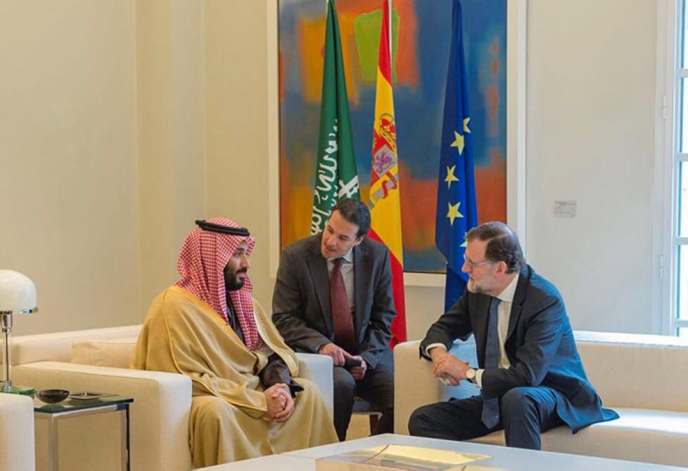 Crown Prince Muhammad Bin Salman, deputy premier and minister of defense, and Spain Prime Minister Mariano Rajoy hold talks in Madrid on Thursday. — SPA
