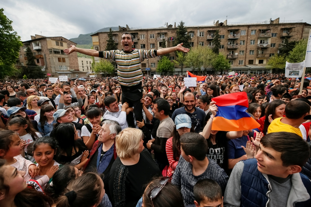 Supporters of Armenian opposition leader Nikol Pashinyan attend a rally in the town of Ijevan, Armenia, on Saturday. — Reuters