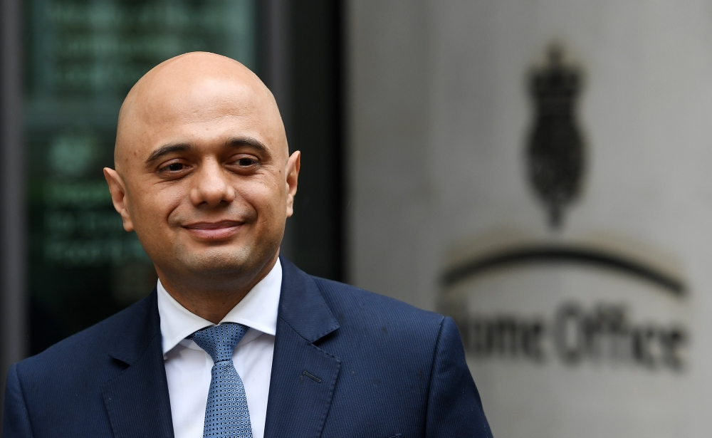 Sajid Javid meets the press following his appointment as the new British Home Secretary following resignation of Amber Rudd in London, Britain, on Monday. — EPA