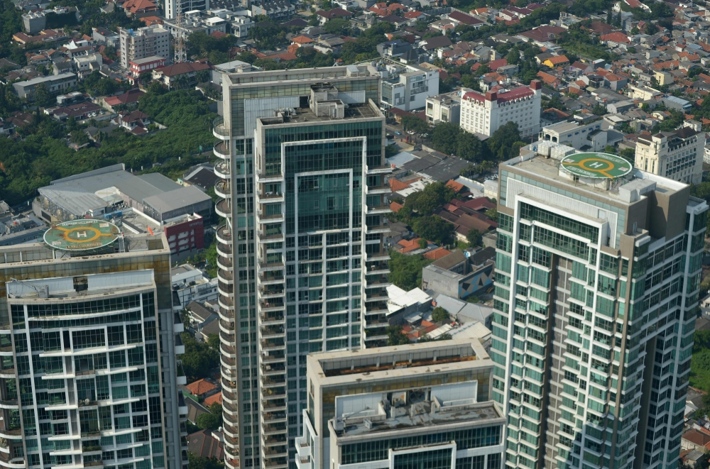 This picture shows two helipads as a Helicity flies over Jakarta. — AFP