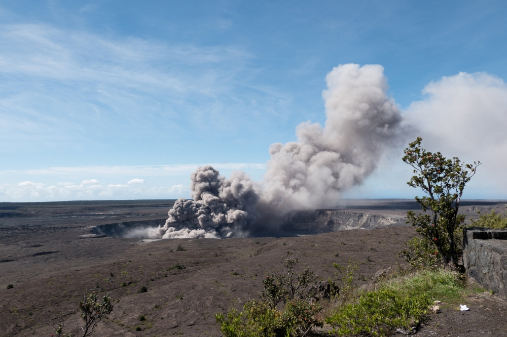 An ash plume rises from the Overlook Vent in Halema'uma'u crater in Hawaii, US, on Friday. — Reuters