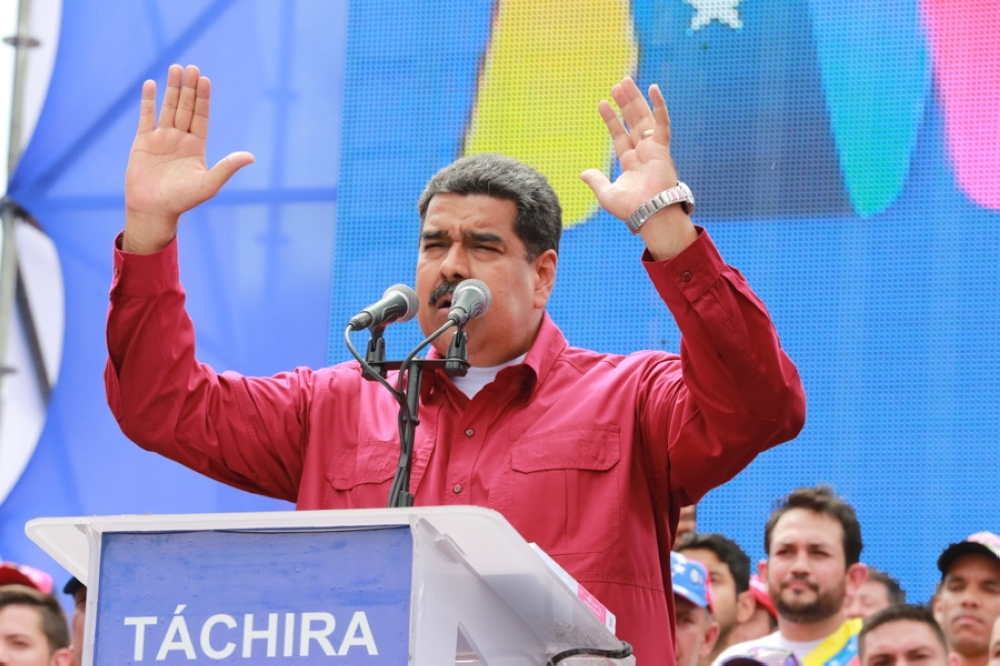 A handout photo made available by Miraflores press shows Venezuelan President Nicolas Maduro while participating in a campaign event in San Cristobal, Venezuela, on Monday. — EPA