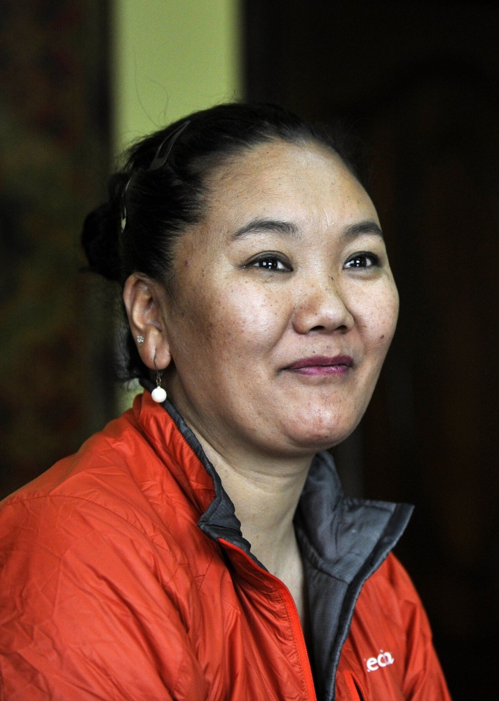 Nepalese mountaineer Lhakpa Sherpa looks on during an interview in Kathmandu in this April 13, 2016 file photo. — AFP