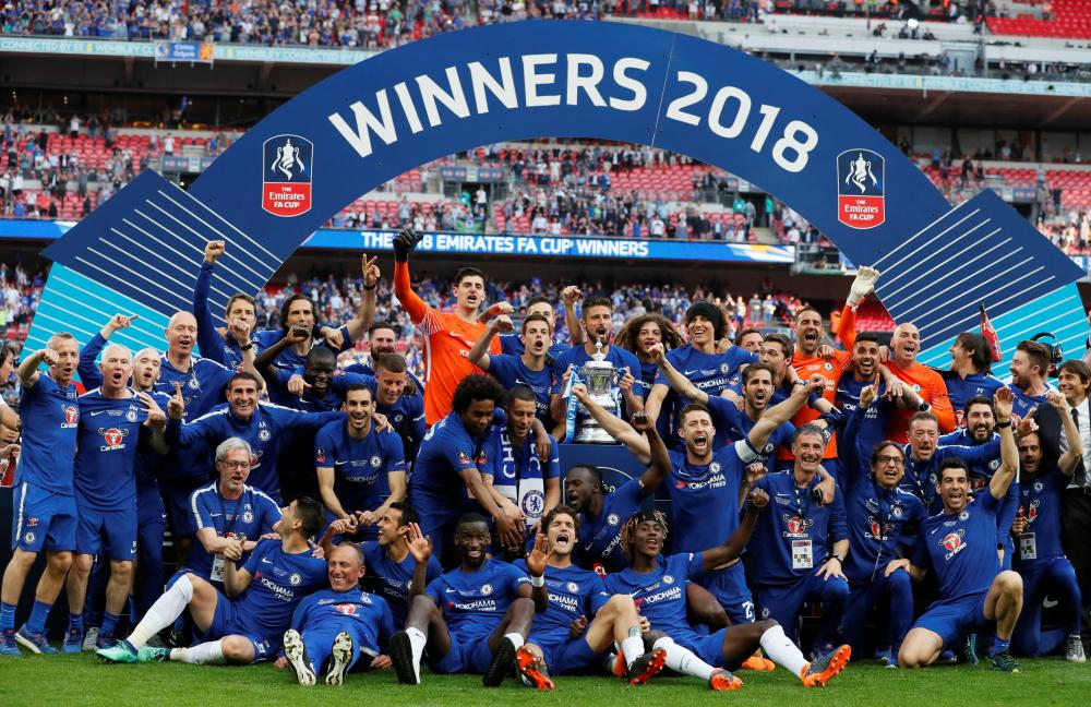 Chelsea celebrate winning the FA Cup against Chelsea at Wembley Stadium, London, Saturday. — Reuters