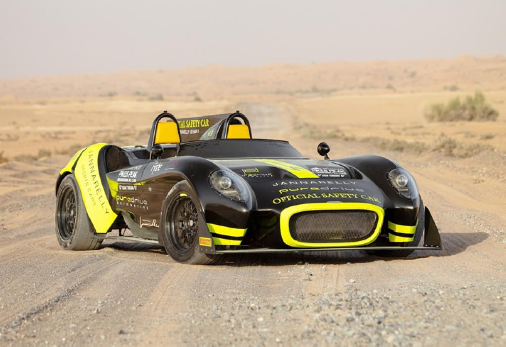 Jannarelly's Design-1 sportscar features 'Official Safety Car' (OSC)  designed, developed and operated by a team co-created with fellow Dubai-based automotive pioneer, PureDrive Automotive, and supported by Pirelli.