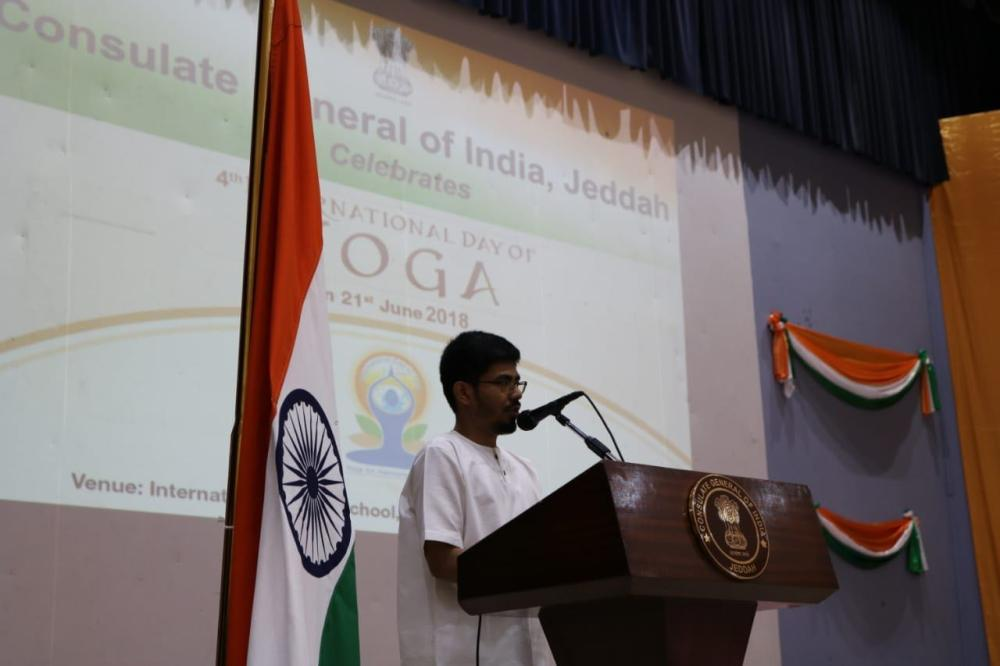 Indian Consul General Md. Noor Rahman Sheikh addressing the attendees of the International Day of Yoga at the IISJ auditorium. . — Courtesy photos