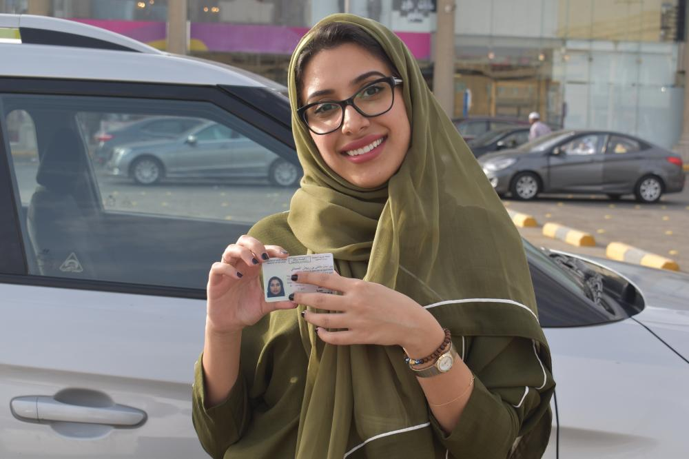 Yara Al-Qahtani drives to the mall alone after graduating from the driving school.