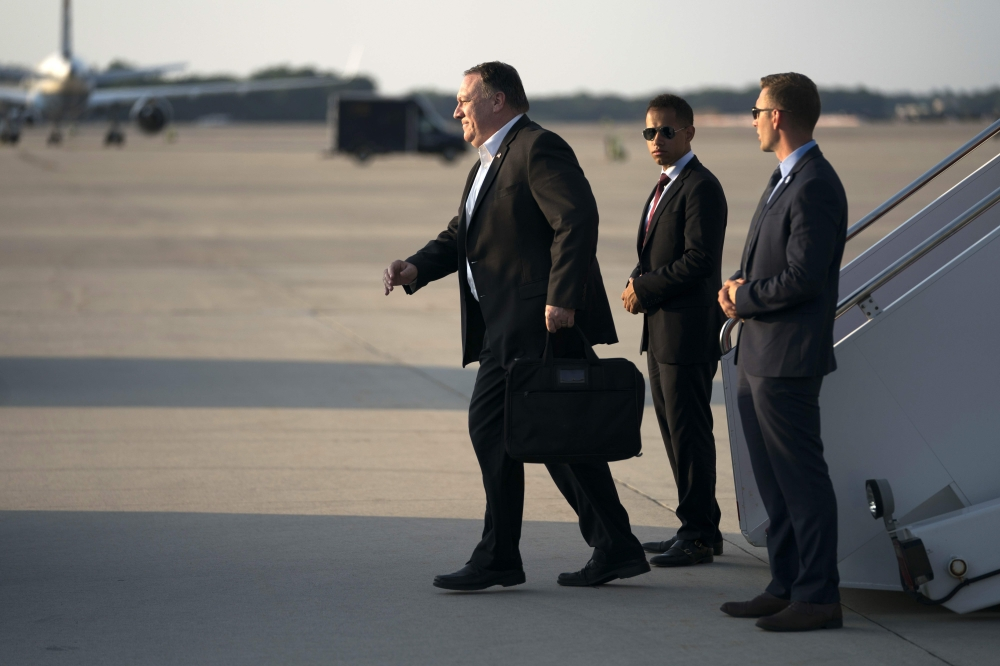 US Secretary of State Mike Pompeo arrives at Andrews Air Force Base in Maryland in this July 13, 2018 file photo. — AFP