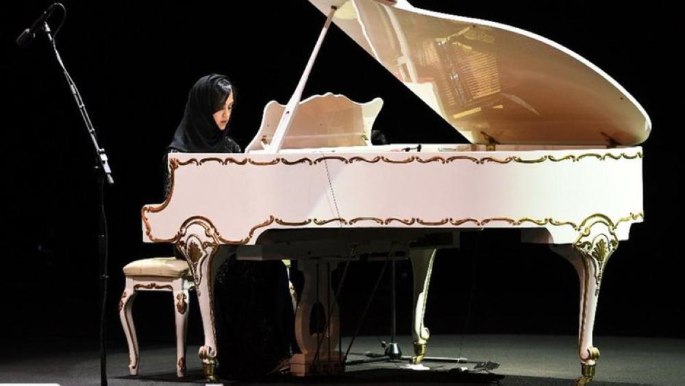 Saudi pianist Eman Gusti performs at King Fahd Cultural Center theater in Riyadh.