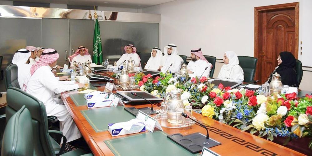 Nijoud Haidar Jamal Al-Lail and Hanadi Abdul Qadir Ramadani attend a meeting of the board of directors of the Tawafa Establishment for South Asian Pilgrims.