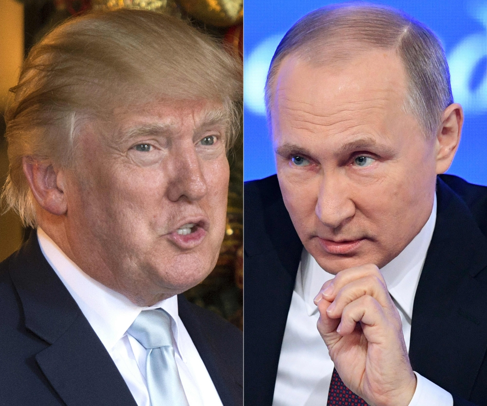 This combination of file pictures created on Dec. 30, 2016 shows a file photo taken on Dec. 28, 2016 of US President-elect Donald Trump in Palm Beach, Florida; and a file photo taken on Dec. 23, 2016, of Russian President Vladimir Putin speaking in Moscow. — AFP