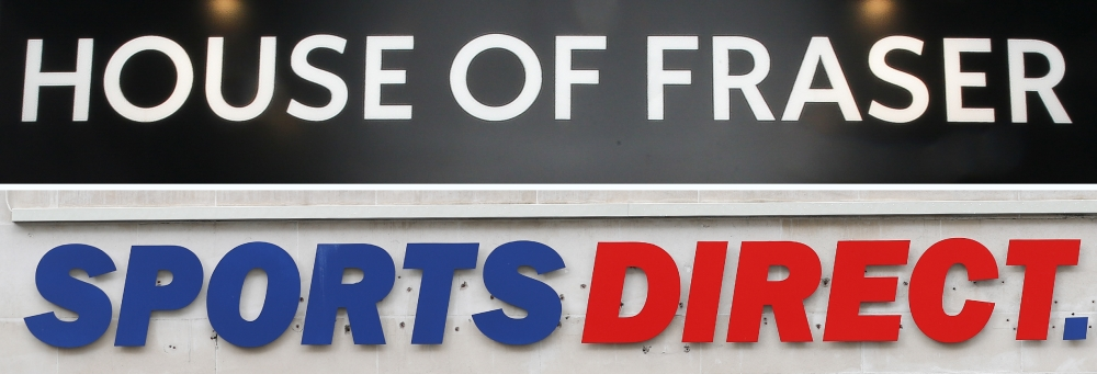 A combination of photographs created in London on Friday shows the logos of retailer House of Fraser (top) and Sports Direct (bottom) on the front of London branches of each store. House of Fraser, the Chinese-owned UK department store chain, entered administration on August 10 only to be swiftly snapped up by retailer Sports Direct for £90 million ($115 million, 100 million euros). — AFP