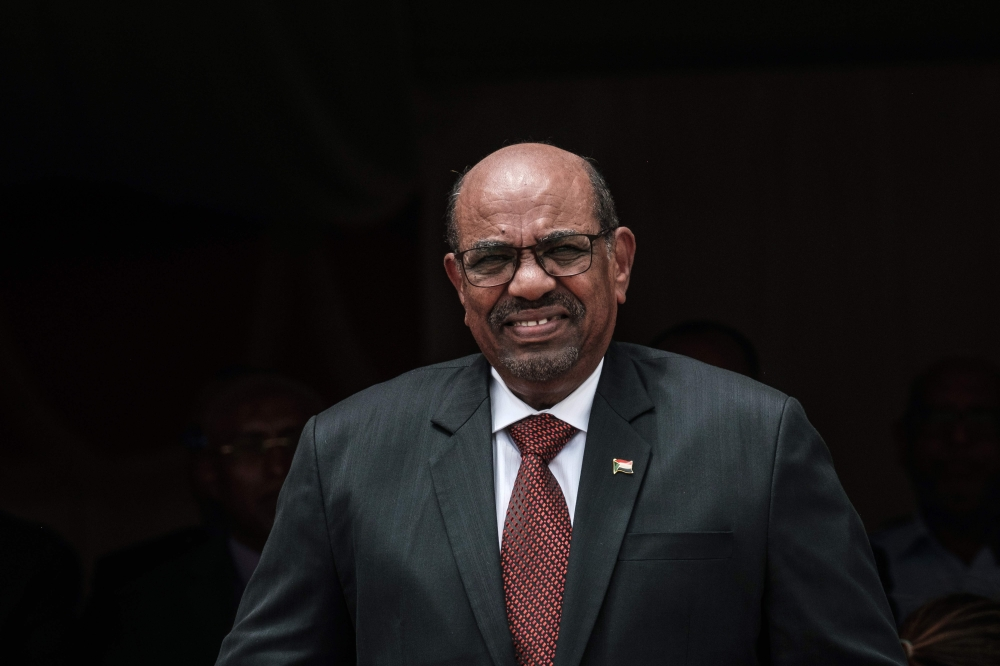 Sudan's President Omar Bashir walks to make his speech during the inauguration ceremony of Djibouti International Free Trade Zone (DIFTZ) in Djibouti in this July 05, 2018 file photo. — AFP