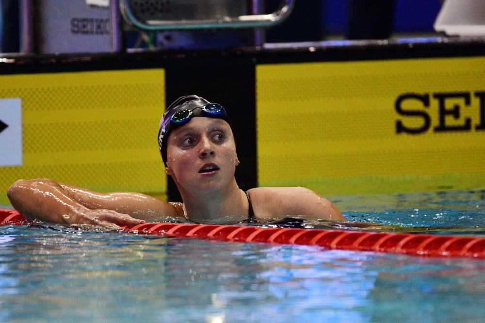 US swimmer Katie Ledecky looks on after competing in the 400m freestyle final of the Pan Pacific Swimming Championships 2018 in Tokyo Saturday. — AFP