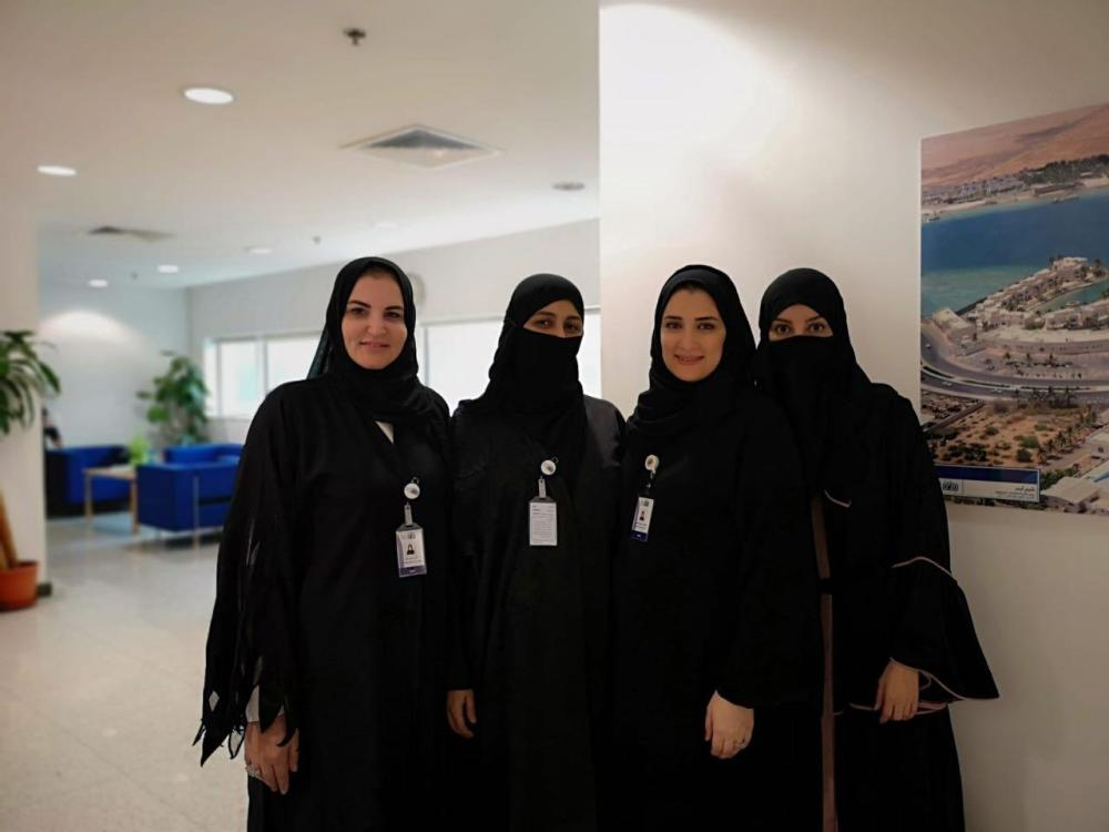 From left to right: Amani Mahmoud, supervisor of central municipalities; Hiba Al-Balawi, head of Al-Sharafiyah central municipality; Mariam Abualenain, head of women municipality branch; and Areej Al-Bugami, general manager of human resources. — SG photos