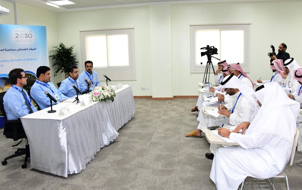 Vice President of the National Power Academy's Trustees' Council and Deputy Chairman of Saudi Aramco for Energy Systems Eng. Abdul Karim Al-Ghamdi and other officials addressing a press conference in Dammam on Tuesday on the occasion of receiving fresh batch of students in the Academy. — Okaz photo by Sami Al-Ghamdi