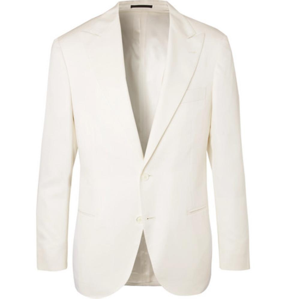 BRUNELLO CUCINELLI Off-White Slim-Fit Wool And Silk-Blend Tuxedo Jacket