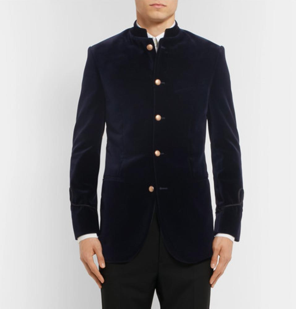 FAVOURBROOK Midnight-Blue Slim-Fit Mandarin-Collar Cotton-Velvet Tuxedo Jacket