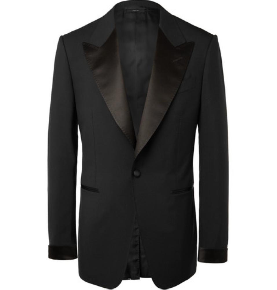 TOM FORD Black Shelton Slim-Fit Satin-Trimmed Wool Tuxedo Jacket