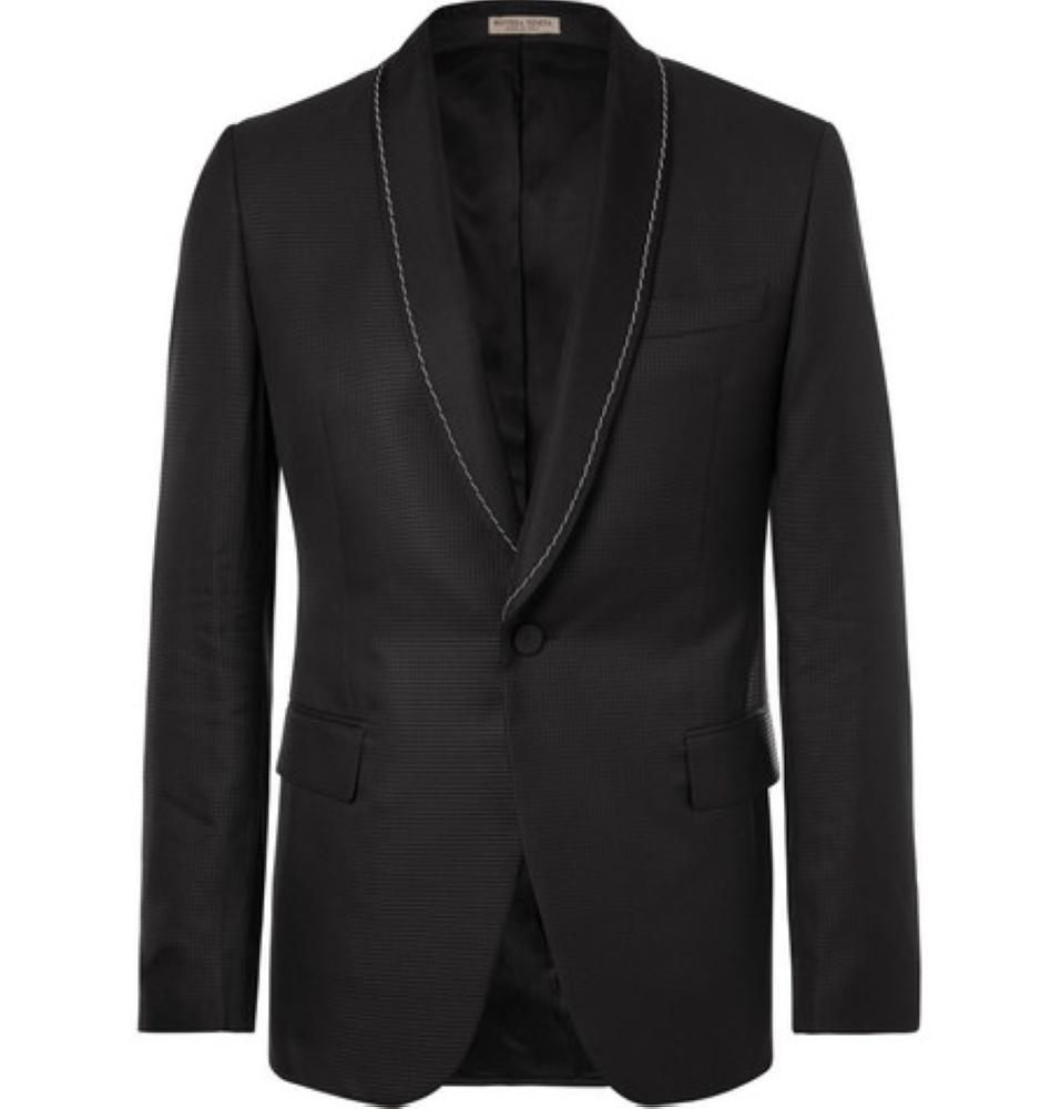 BOTTEGA VENETA Black Slim-Fit Embellished Puppytooth Jacquard Tuxedo Jacket
