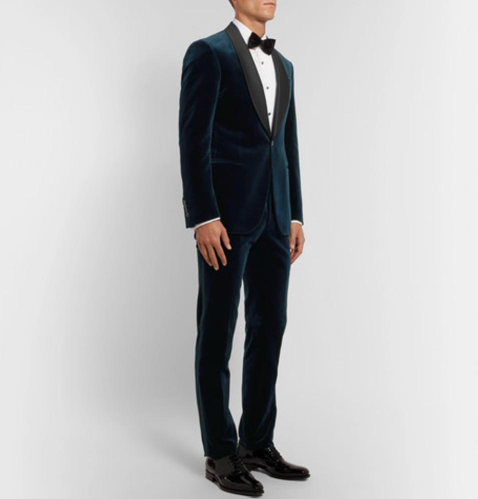 POLO RALPH LAUREN Navy Slim-Fit Satin-Trimmed Cotton-Velvet Tuxedo