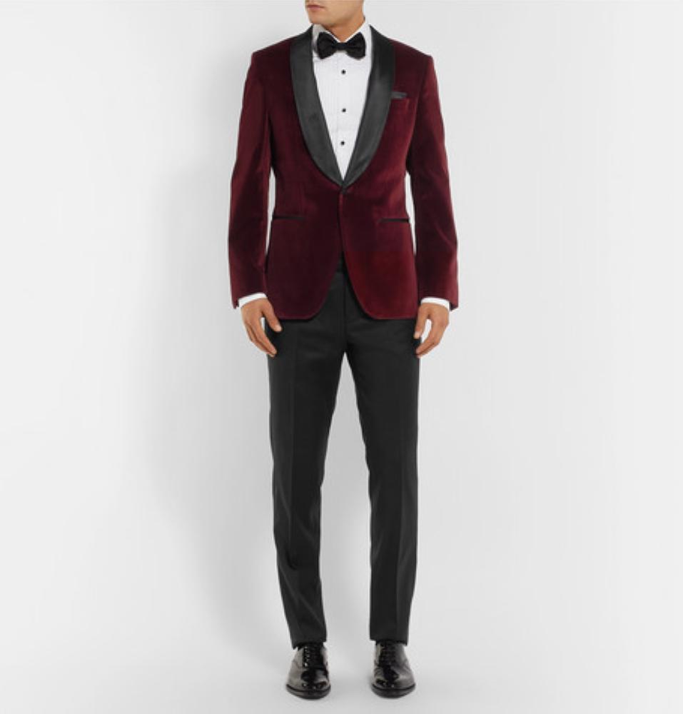HUGO BOSS Burgundy Hockley Slim-Fit Satin-Trimmed Cotton-Velvet Tuxedo Jacket