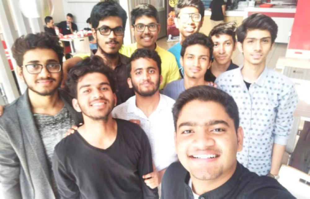 A group of students from the International Indian School in Jeddah rejoice on hearing the news of reopening their campus Tuesday night.