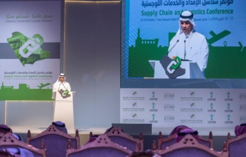 Minister of Transport Dr. Nabeel Al-Amoudi addresses the 2nd Conference for Supply Chains and Logistics Services in Riyadh on Monday. — SPA